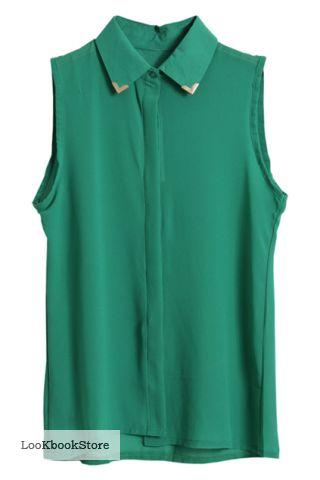 a4fea28d2f5 Зеленая блузка без рукавов с вставками на воротнике из металла - Блузки