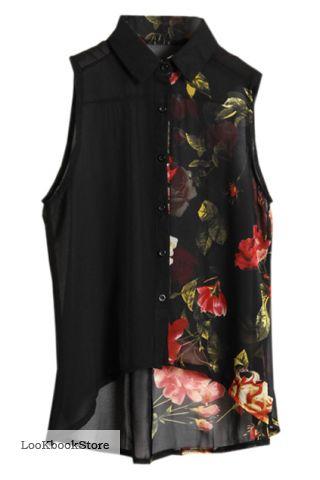 Блузка Черная Цветами