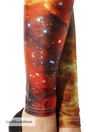 Галактические леггинсы с оранжевым космосом