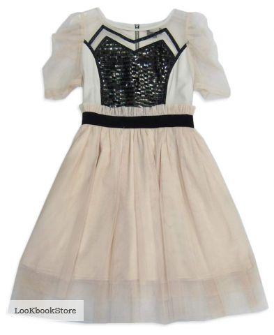 Платье с рукавами фонариками расшитое пайетками.