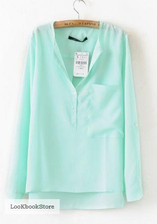 Блузка полупрозрачная нежно зеленого мятного ментолового цвета