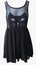 Платье с аппликацией кошки