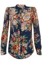 Синяя рубашка с цветочным принтом