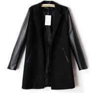 Черная куртка-жакет с рукавами под кожу