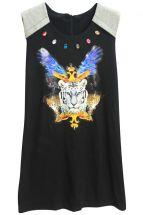 Черное платье с камнями и принтом королевского тигра