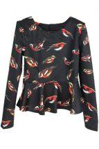 Черная блузка с птичками-синичками